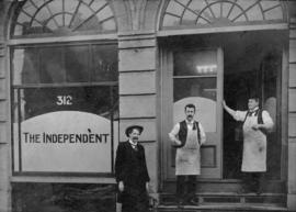 Jos. Niles, H. Geo. Bartley, and H. Cowan [standing outside office of] the Independent, 312 Homer...