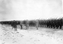 [The inspection of a Canadian battalion on the Western Front]