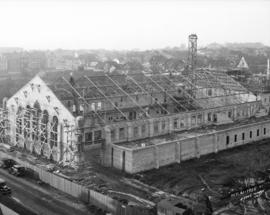 [Partially constructed Seaforth Armoury on Burrard Street at south end of Burrard Street Bridge]