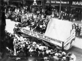 [The Vancouver Builders Exchange float in the 600 Block of Granville Street during a Victoria Day...