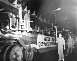 [A float for the U.B.C. Canadian Olympic Oarsmen  in a parade for the returning athletes]