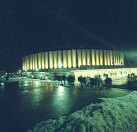 Pacific Coliseum illuminated exterior at night
