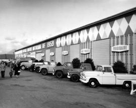Trucks lined up outside of 1959 General Motors Motorama show in Pacific Showmart building