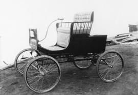 The first horseless carriage ever seen on the streets of Vancouver, owned by the late W. H. Armst...