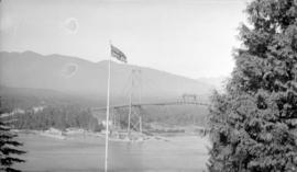 View of the Lions Gate Bridge showing the North Shore approach
