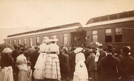 [Arrival of Sir John and Lady Macdonald by C.P.R train at Port Moody]