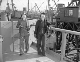 Burrard Shipyard - [left to right] Miss Beatrice Lockie and Verna Rennie - shipwright helpers