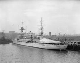 "French warship, ""Jeanne D'Arc"" [docked in harbour]"