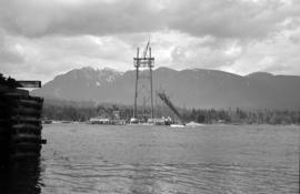[View of the Lions Gate Bridge under construction on the north shore]