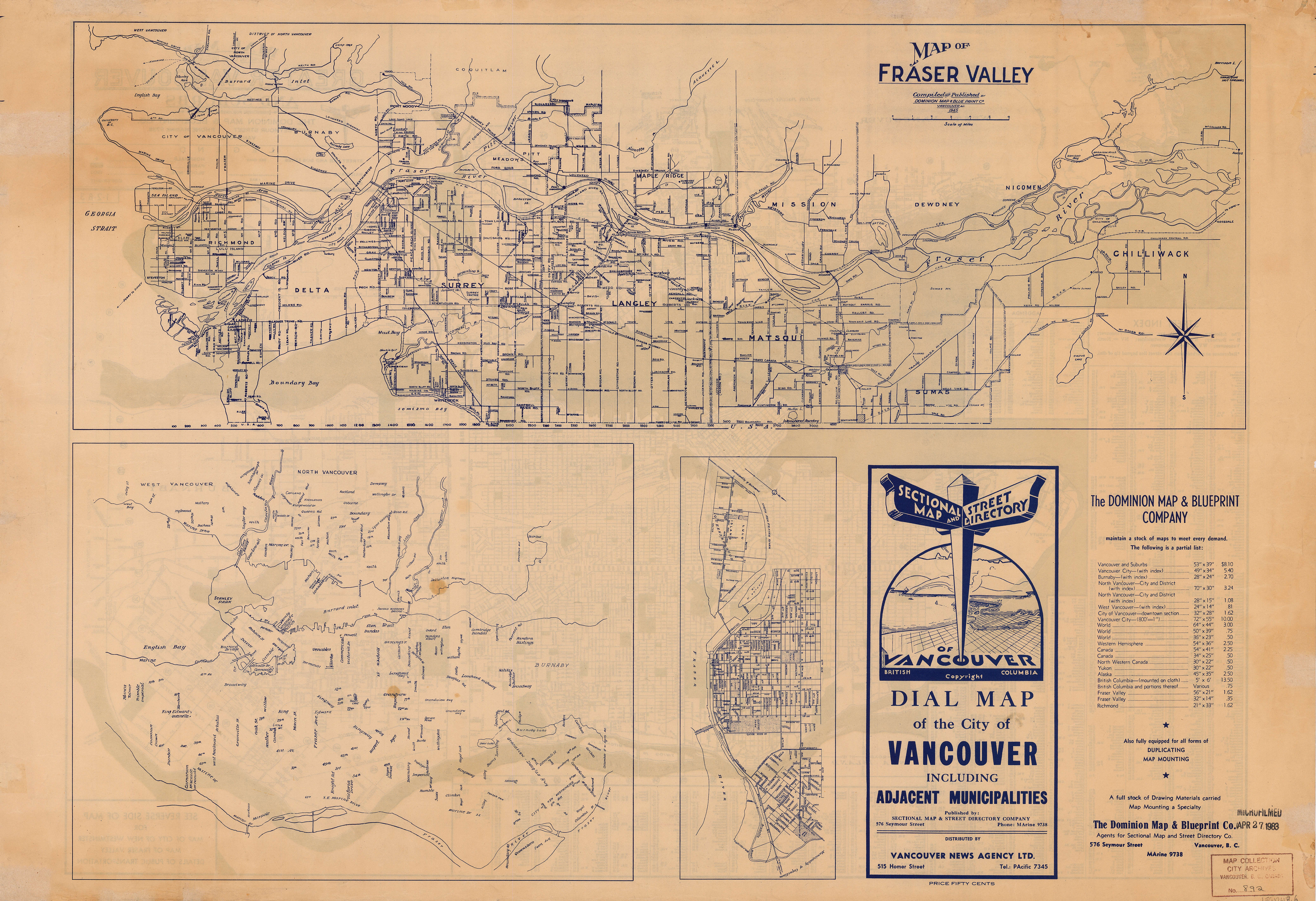 Map of fraser valley city of vancouver archives open original digital object malvernweather Choice Image