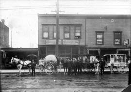 Three Granville Bros, horse-drawn wagons in front of premises B.C. Renevatory Co. and Granville B...