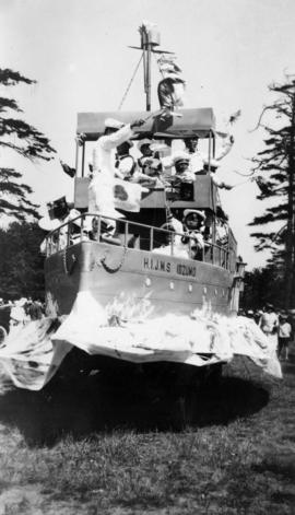 H.I.J.M.S. IDZUMO decorated for a parade in Kitsilano