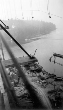 [The Lions Gate (First Narrows) Bridge under construction]