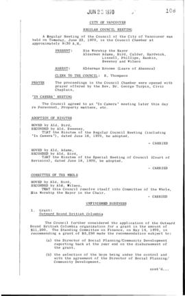 Council Meeting Minutes : June 23, 1970