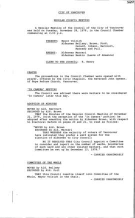 Council Meeting Minutes : Nov. 28, 1978