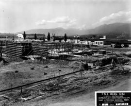 Construction of P.N.E. B.C. building with Livestock building and Pavilion of Modern Living in bac...