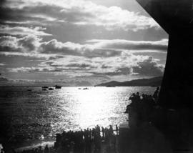 [A view from the north side of the First Narrows of the flotilla escorting King George VI and Que...