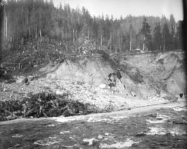 Coquitlam Dam [showing] east bank of river downstream from dam site