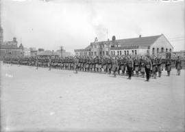 Military 72nd [Regiment inspection parade] [on the Cambie Street grounds in front of the Drill Ha...