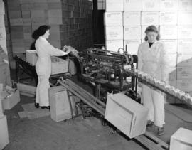 [Two women operating a can labelling machine at a salmon cannery]