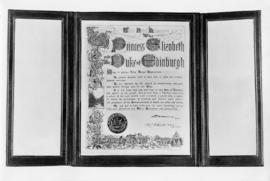 Framed address of welcome on the occasion of the visit of H.R.H. Princess Elizabeth and the Duke ...