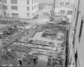 Construction of pan house: excavation and installation of footings, flooring