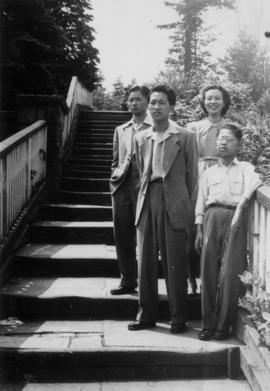 Mrs. Chan and her three children passing through Vancouver after Canadian immigration laws were c...