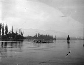 [View looking north from Coal Harbour with a four-man scull]