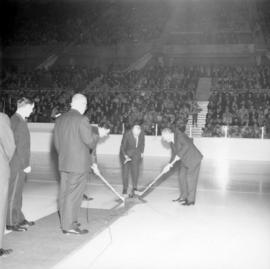 Pre-game ceremony at WHL Vancouver Canucks hockey game in Pacific Coliseum