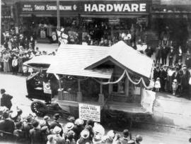 [The Rat Portage Lumber Company float in the 600 Block of Granville Street during a Victoria Day ...