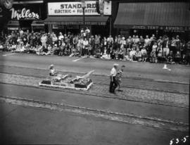 Eagles International Salmon Derby float in 1953 P.N.E. Opening Day Parade