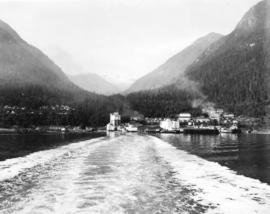 [View of wood fibre plant from Howe Sound]