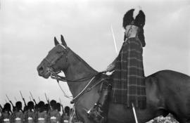 Seaforth Highlander riding a horse at the opening of the Seaforth Armoury