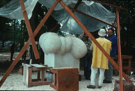 Michael Prentice and Gerhard Class in conversation next to Prentice's sculpture