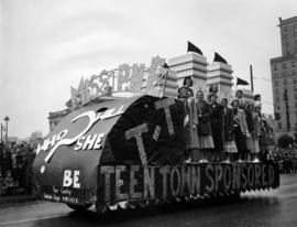 Teen Town float carrying Miss P.N.E. contestants in 1950 P.N.E. Opening Day Parade