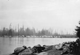 Greer's Beach [later Kitsilano Beach, showing tents on shore]