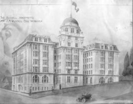 [Drawing of the Russell apartents; by Henry B. Watson, architect]
