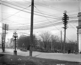 [Power lines over intersection of Cambie and Pender Streets]