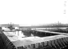 Wharf construction on the west side of the Westminster Avenue (Main Street) bascule bridge