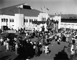 Crowd inside of Exhibition Park gates, by the P.N.E. Forum and Shrine Circus