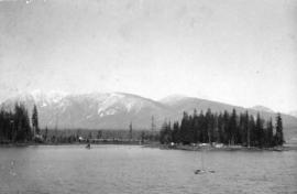 [View of Deadman's Island across Coal Harbour from the foot of Cardero Street]