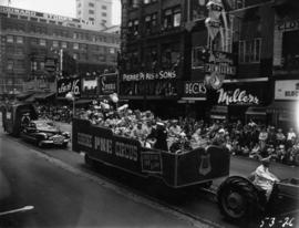 Pacific National Exhibition Shrine Circus float in 1953 P.N.E. Opening Day Parade