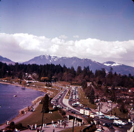View of Lost Lagoon, Stanley Park Causeway and the North Shore mountains