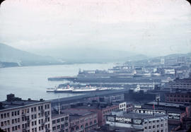 View of Gastown and Port of Vancouver from above
