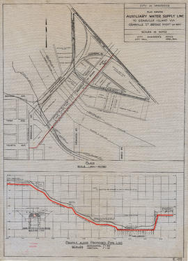 Plan showing auxiliary water supply line to Granville Island via Granville Street Bridge right of...