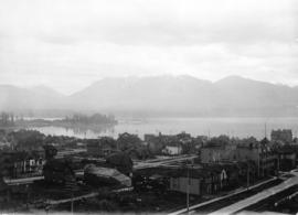 [Looking northwest from the roof of the first Hotel Vancouver on Georgia Street towards Stanley P...