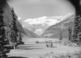 [Scenic view of] Lake Louise [and Rocky Mountains]