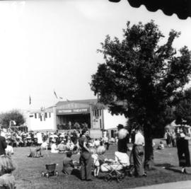 Crowd watching band performance on Outdoor Theatre stage