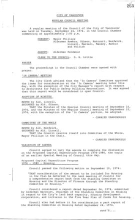Council Meeting Minutes : Sept. 24, 1974