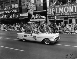 Evelyne Ward Academy of Dancing decorated car in 1955 P.N.E. Opening Day Parade